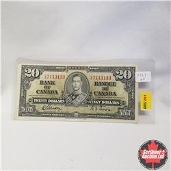 1937 Bank of Canada $20 Bill, D/E7113133, Gordon/Towers
