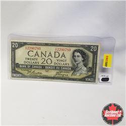 1954 Canada $20 Bill, Devil's Face, E/E2290780, Beattie/Coyne