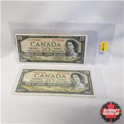 1954 Canada $20 Bills (2): W/E6057444 Beattie/Rasminsky, H/E1288840 Beattie/Coyne