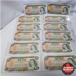 1979 Canada $20 Bills Sequential:  52430168106-17, Thiessen/Crow
