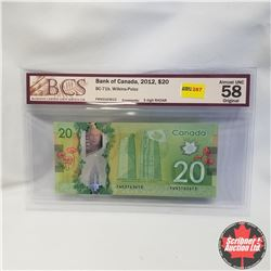 2012 Canada $20 Bill, 3-Digit Radar, FWN3163613, Wilkins/Poloz, (BCS Graded: Almost UNC 58 Original)