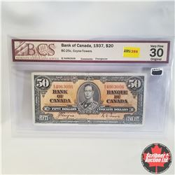 "1937 Bank of Canada $50 Bill (print error on holder ""$20"") B/H4963006, Coyne/Towers (BCS Graded: Ver"