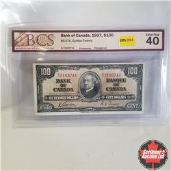 1937 Bank of Canada $100 Bill, B/J3183741, Gordon/Towers (BCS Graded: Extra Fine 40)