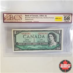 1954 Canada $1* Bill, Replacement, D/O0541262, Beattie/Rasminsky (BCS Graded: Almost UNC 58 Original