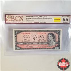 1954 Canada $2* Bill, Replacement, A/G3228128, Bouey/Rasminsky (BCS Graded: Almost UNC 55 Original)