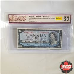 1954 Canada $5* Bill, Replacement, I/X0037202, Beattie/Rasminsky (BCS Graded: Very Fine 20)
