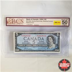 1954 Canada $5* Bill, Replacement, V/S0126141, Beattie/Rasminsky (BCS Graded: Almost UNC 50 Original