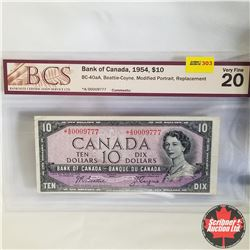 1954 Canada $10* Bill, Replacement, A/D0009777, Beattie/Coyne (BCS Graded: Very Fine 20)