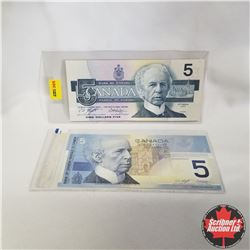 1986 Canada $5 Bill & 2002 Canada $5 Bill with Matching Serial #s, ANU6968348, Knight/Dodge