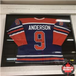 """Glenn Anderson #9 Oilers - Autographed Jersey (41""""x31""""x2"""") (With Photo of Anderson Signing)"""