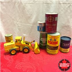 Tray Lot: Variety Tins (6); Diecast Loader Toy