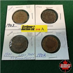 Canada Large Cent - Group of 4: 1901; 1902; 1903; 1904