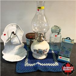 Blue & White Grouping : Wallmount Enamel Cup / Dish, White Floral Base Coal Oil Lamp, Jar, Match Sti