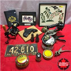 Box Lot: Kerosene Irons, Coffee Grinder, Thermometer, Lic. Plate, etc !!