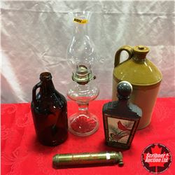 Box Lot: Crock Jug, Clear Glass Coal Oil Lamp, Brown Glass Jug, Decanter, Small Brass Fire Extinguis