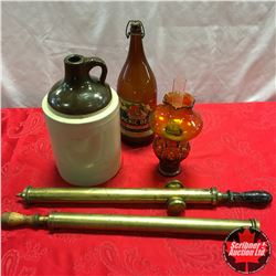 "Box Lot: Crock Jug, ""Picnic"" Beer Bottle, Small Amber Coal Oil Lamp, Brass Dusters"