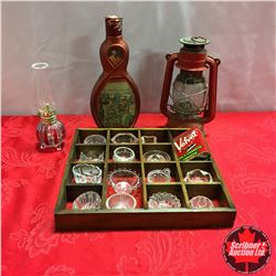 Tray Lot: Small Red Barn Lantern, Small Red/Clear Base Coal Oil Lamp, Decanter, Small Glass Bowls, e