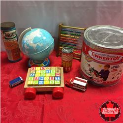 Box Lot: Tinker Toys, Alphabet Blocks, Globe, etc  + Never Opened Tinker Toys Barrel