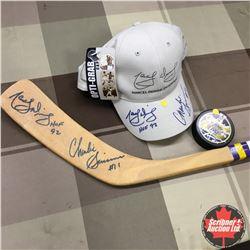 Autographed Sports Memorabilia 1992 HOF (Hockey Stick, Puck & Hat) : #11 Charlie Simmer & #16 Marcel
