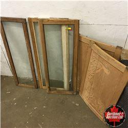 Repurpose Furniture Parts: Barrister Bookcase Doors (3) & Curved Cupboard Doors (2)