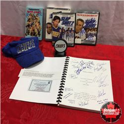 """Slapshot"" Movie Collectors Grouping : VHS Copy (Autographed), Chiefs Hat (Autographed), Script w/CO"