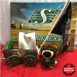 Saskatchewan Roughriders Grouping: Souvenir Chuckwagon, Plush Gopher, Window Flag & Light Up Canvas