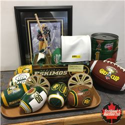 "Edmonton Eskimos Grouping: Framed Photo ""Tristan Jackson"" (Signed) + Variety of Souvenir Collectible"