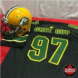 "Edmonton Eskimos : Riddell Helmet #89 ""Adams"" 2008 Season & 1997 Grey Cup Jersey"