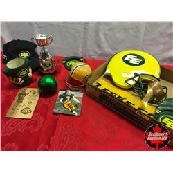 Tray Lot: Edmonton Eskimos Souvenirs (Gizmo Williams Autograph! + Hat, Posters, Ceramic Wall Hanging