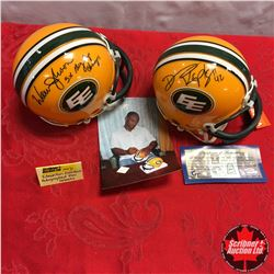 Edmonton Eskimos Autographed Mini Helmets (2): Warren Moon & Danny Kepley (With Photo of signing)
