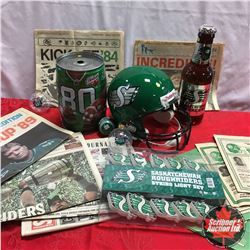 Saskatchewan Roughriders Collectibles: Ephemera, Lights, Replica Helmet, Christmas Ornaments, Beer B