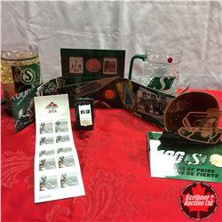 Saskatchewan Roughriders Coins & Stamps + 2 Beer Mugs