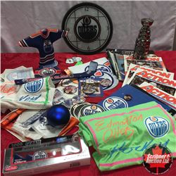 Edmonton Oilers Collectibles: Grant Fuhr Mini Jersey on Stand (Autographed), Stanley Cup Replica, Cl