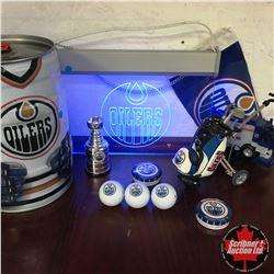 Edmonton Oilers Collectibles: Golf Balls, Mini Stanley Cup, Golf Bag Pen Set, Light Up Sign, Zamboni