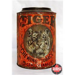 Large Round Tiger Chewing Tobacco Tin