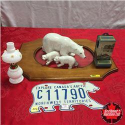 Polar Bear Ornaments, Lic Plate, Match Stick/Box Holder, Mini Oil Lamp w/Wood Pic Frame