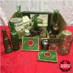 Box Lot: Green Theme (Tobacco Tin, Lighters, Ashtray, Coal Oil Lamp, Bottles, Book, etc.)