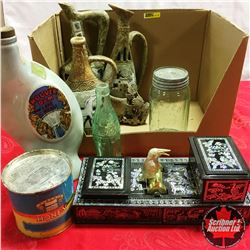 Box Lot: Décor Pottery Pitchers (Made in Italy), Vases, Decanter, Oriental Countertop Mint & Cigaret
