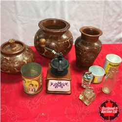 Box Lot: Coffee Grinder, Pottery Vases/Canister & Tins