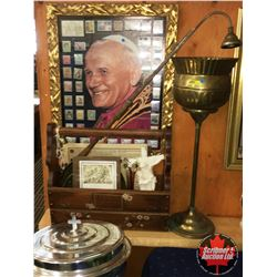 Religion Combo: Framed Pope Picture & Stamps, Candle Lighter/Snuffer, Small Statue, Vase, Brass Stan