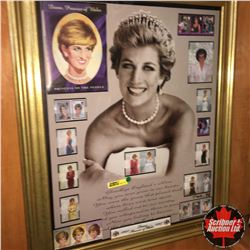Royalty/Monarchy Combo: Framed Lady Diana Print & Stamps + Variety of Cups, Saucers, Tins, 1937 Coro