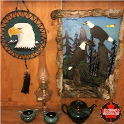 Cabin Starter Kit! : Coal Oil Lamp, Pottery Tea Pot, Cream & Sugar, Eagle Artwork, Eagle Wall Carvin