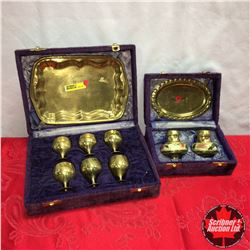 Vintage Brass Tray Sets : Purple Velvet Cases (Tray & 6 Goblets) (Tray & Salt & Pepper)
