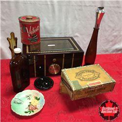 Humidor Lot w/Lighters, Cigar Boxes, Tobacco Tin, Vase, etc