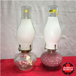 Coal Oil Lamps (2) Frosted Chimneys