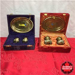 Vintage Brass Tray Sets : Velvet Cases (1 Purple & 1 Red) (Tray & Salt & Pepper)