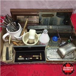 Tray Lot: Gentleman's Combo (Vintage Shaving Items, Thermometers, Mustache Cups, Scissors/Clamps, et