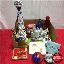 Red, White & Blue Theme Grouping: Oil Lamp, Paper Weights, Decanter, Lighters, Figurines, Tobacco Ti
