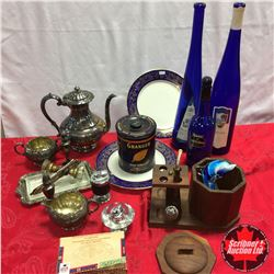 Box Lot - Blue Theme : Pipe Stand, Bottles, Noritake Plates, Glass Door Knobs, Silver Service Coffee
