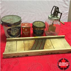 "Country Kitchen Group: Cabbage Cutter, ""Dazey"" Churn No.40 & Tins (Braids & Swifts 2)"
